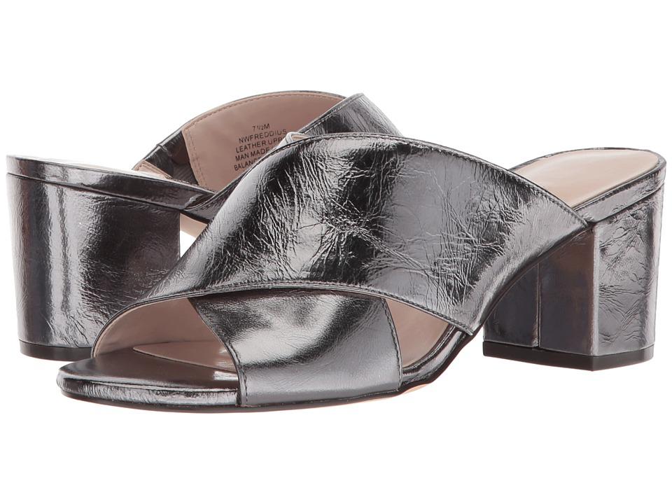 Nine West Freddius Slide Block Heeled Sandal (Pewter Metallic) Women