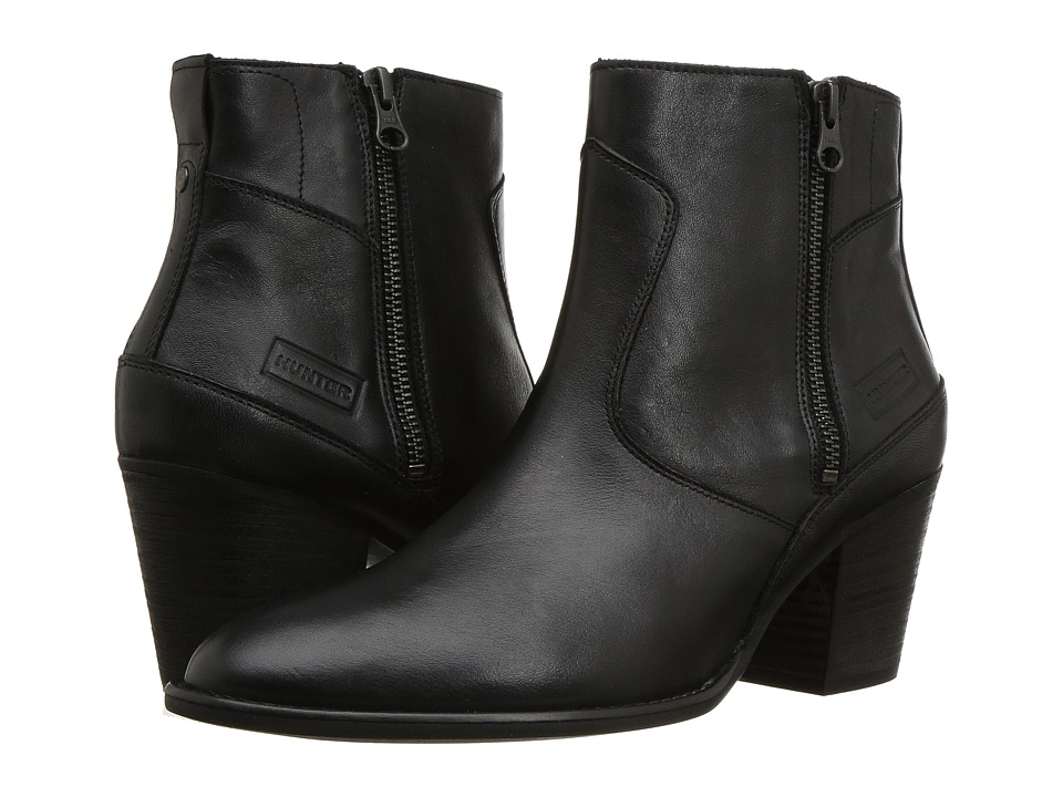 Hunter Refined Zip Boot Leather (Black) Women