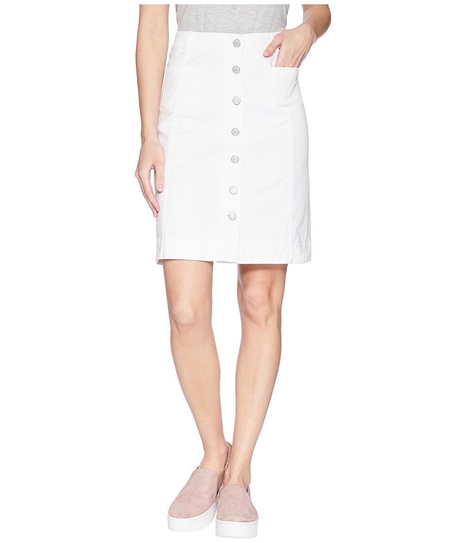CHAPS Button-Front Denim Skirt (White) Women