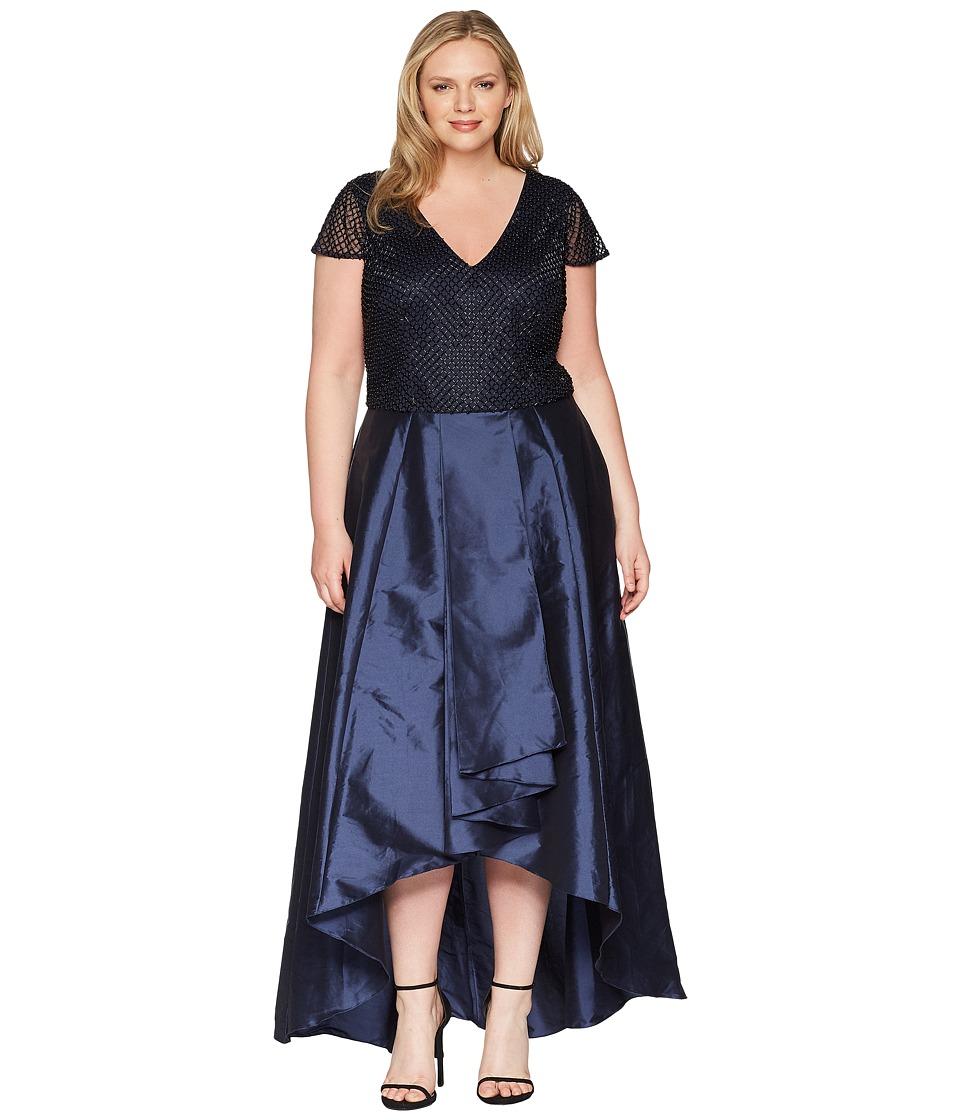 Adrianna Papell Plus Size Beaded Long Dress (Navy) Women