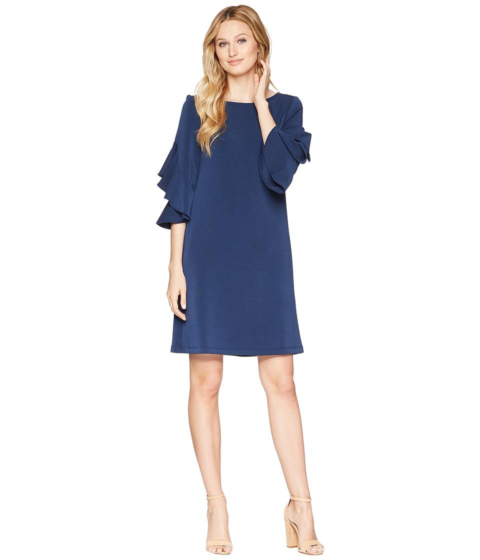 Taylor Double Ruffle Sleeve Shift Dress (Navy) Women
