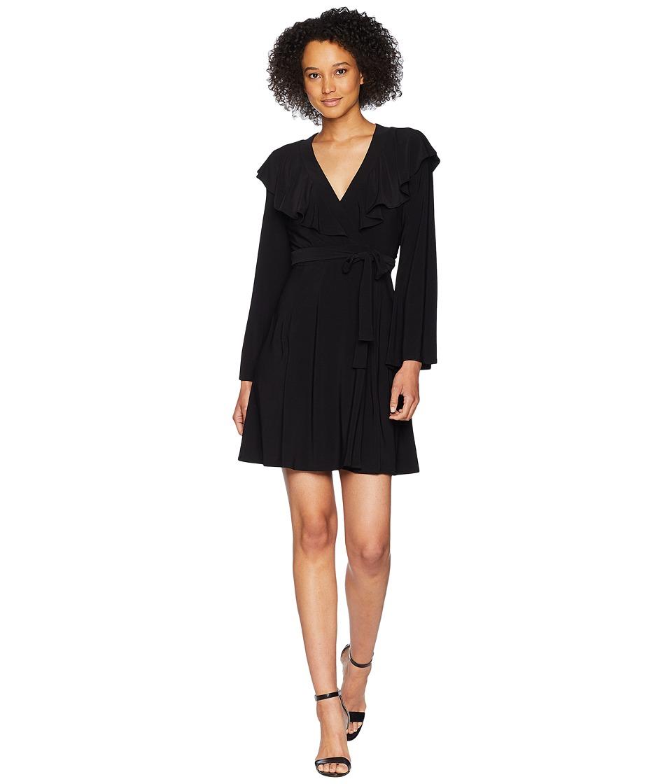 Taylor Bell Sleeve Ruffle Neck Wrap Tie Dress (Black) Women