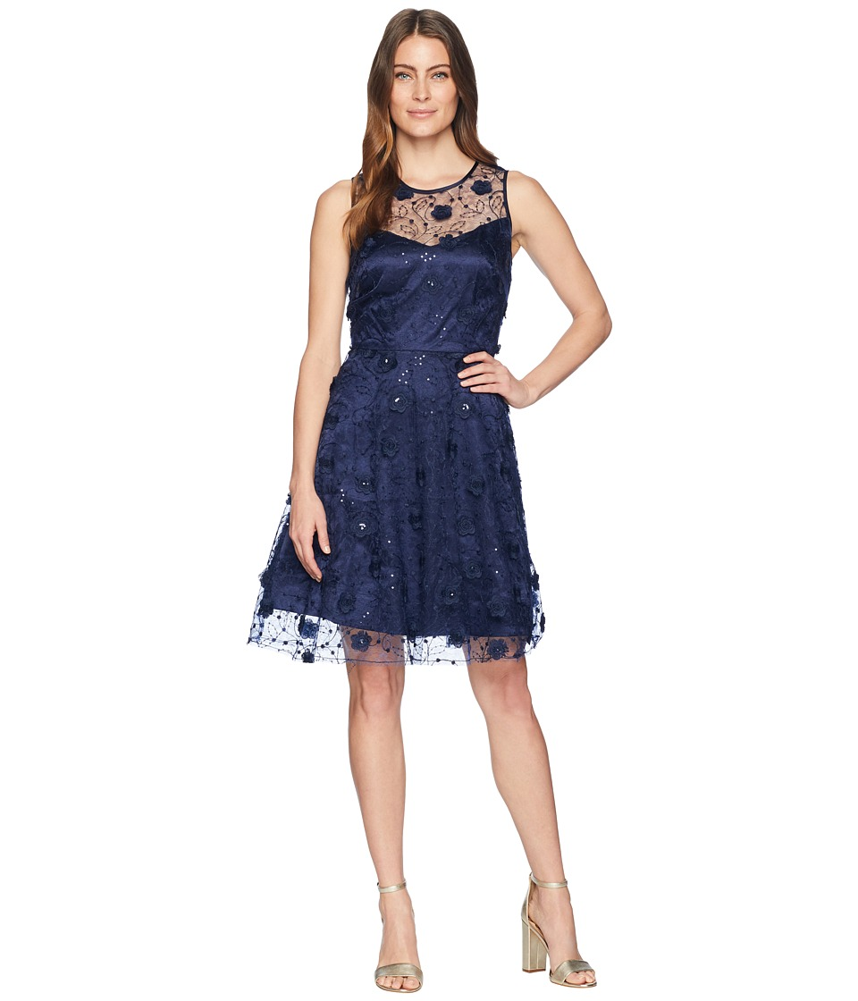 Taylor Embroidered 3D Flower Mesh Cocktail Dress (Navy) Women