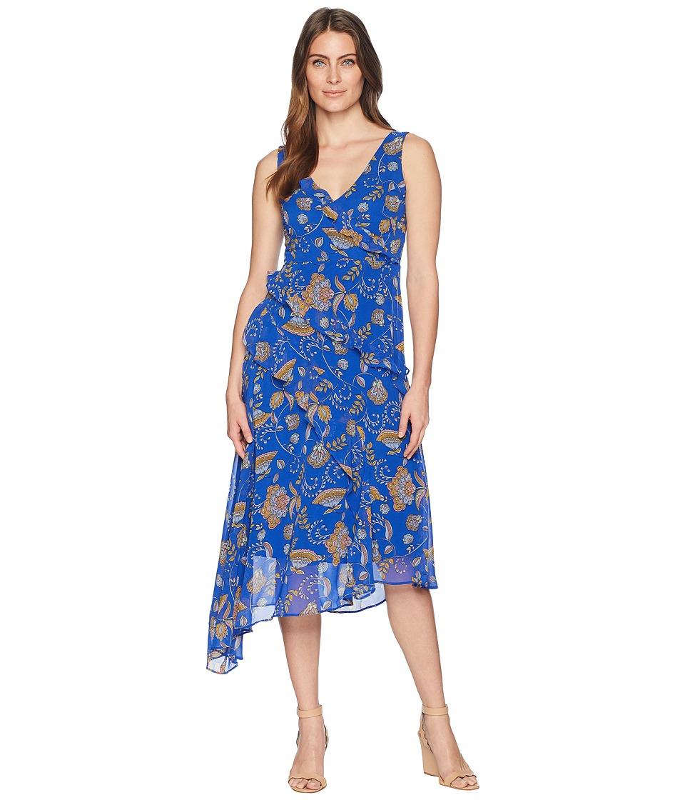 Taylor Asymmetrical Ruffle V-Neck Paisley Print Dress (Royal Medallion) Women