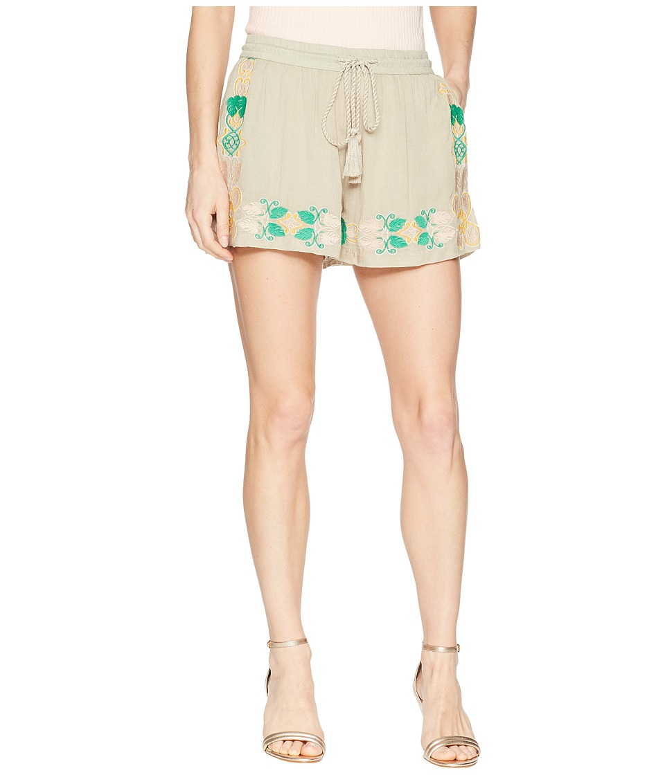 ROMEO & JULIET COUTURE Embroidered Shorts with Elastic Waist (Tan) Women