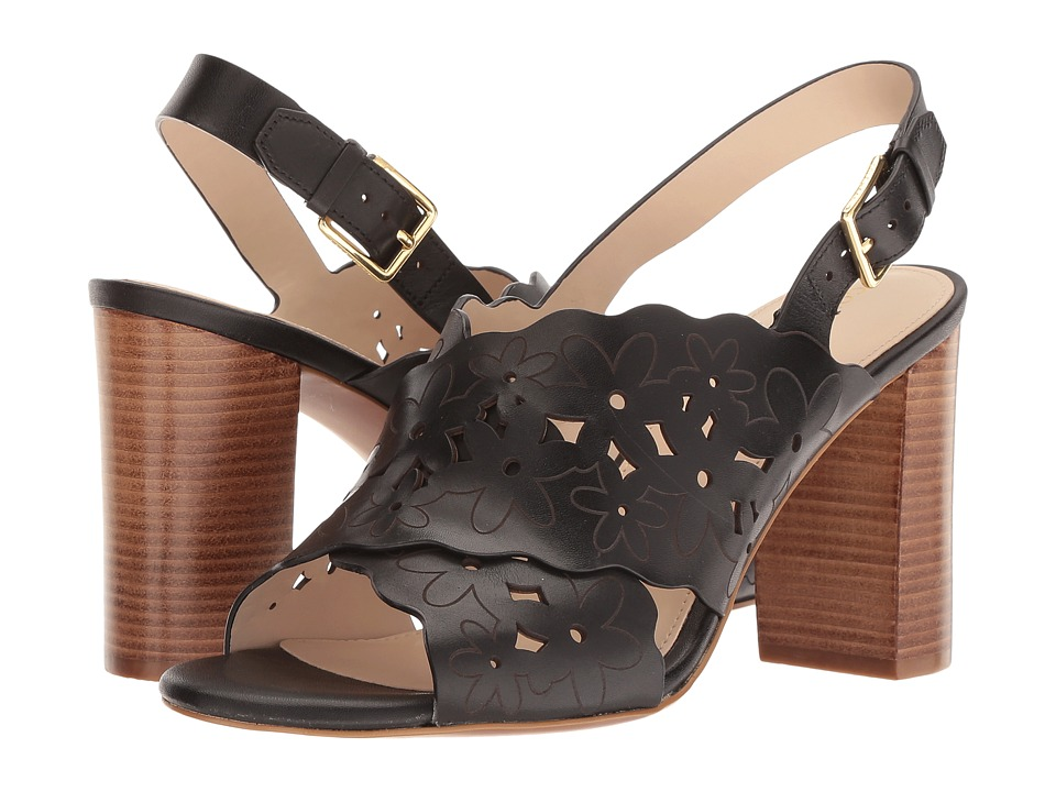 Cole Haan Indra High Floral Sandal II (Black Leather) Women