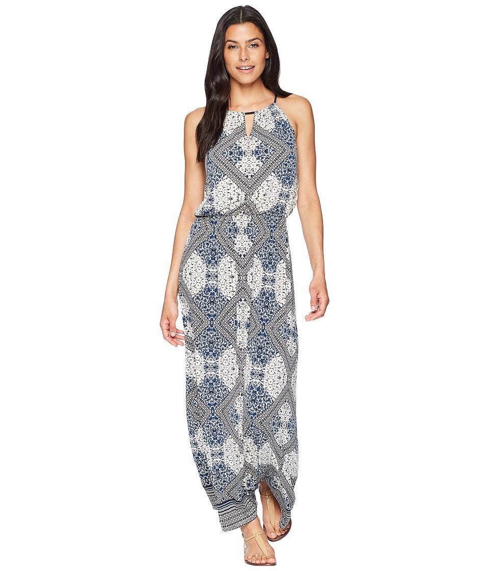 London Times Diamond Frames Blouson Halter Maxi Dress (Tan/Navy) Women