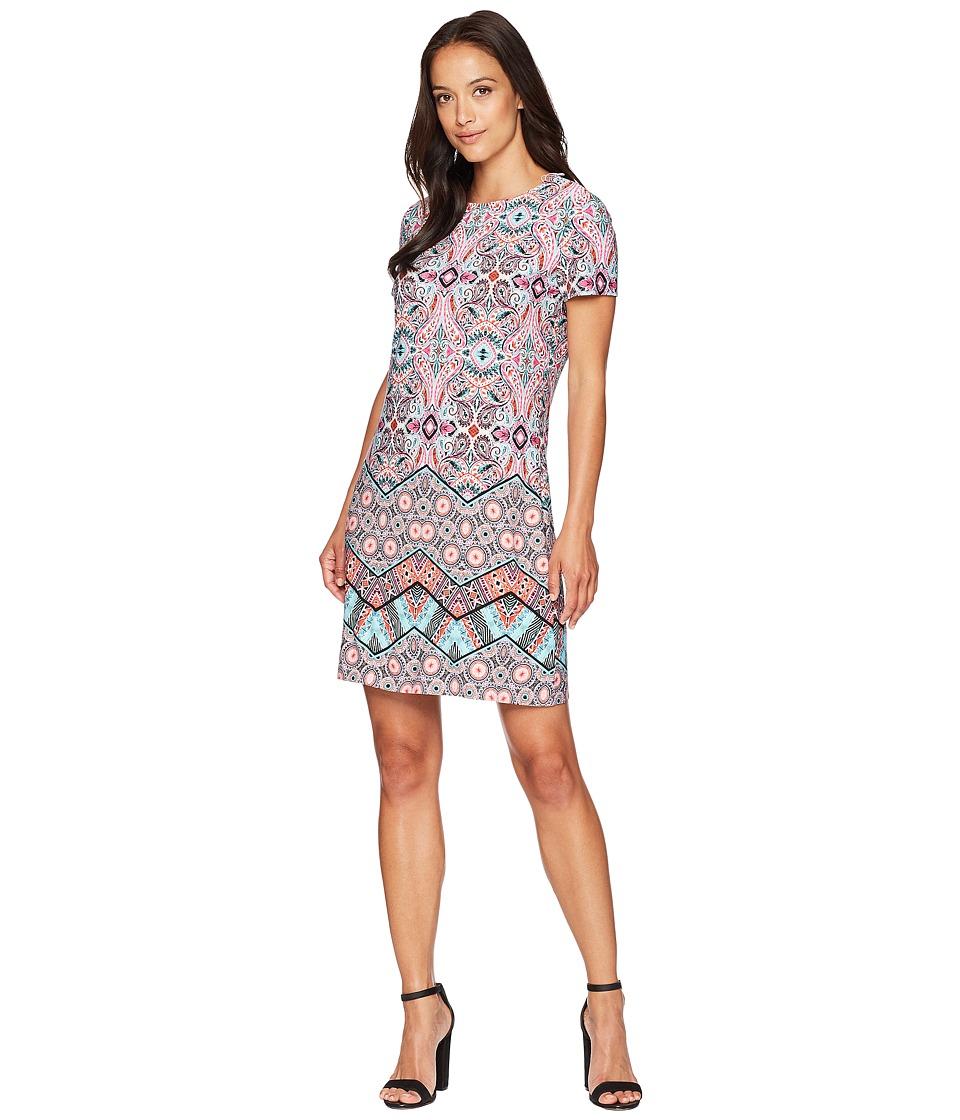 London Times Matte Jersey Chevron Mosaic Short Sleeve Sheath Dress (Pink Multi) Women