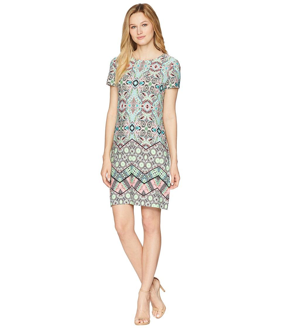 London Times Matte Jersey Chevron Mosaic Short Sleeve Sheath Dress (Green Multi) Women