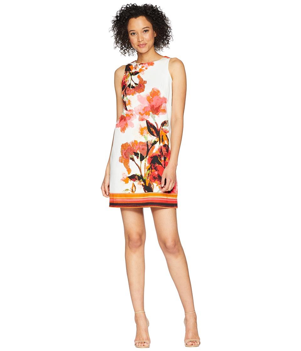 London Times Cotton Sateen Leafy Flower Print Border Sheath Dress (Coral Multi) Women