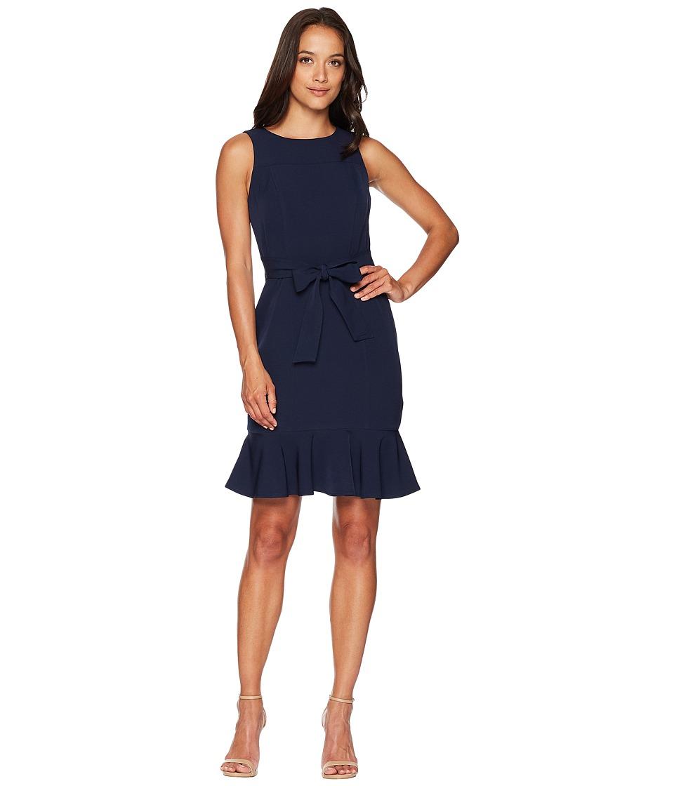 London Times Belted Dream Crepe Sheath Dress w/ Ruffle (Navy) Women