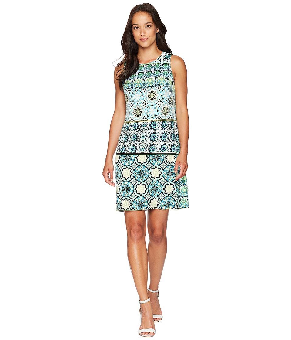 London Times Matte Jersey Fiesta Tile Sleeveless Shift Dress (Green Multi) Women
