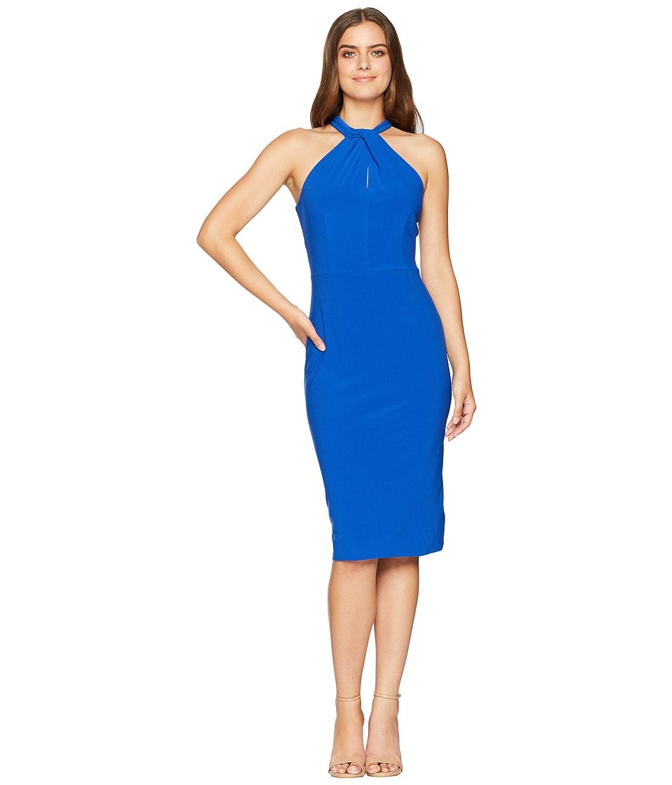 London Times Twist Neck Halter Midi Sheath Dress (Royal) Women