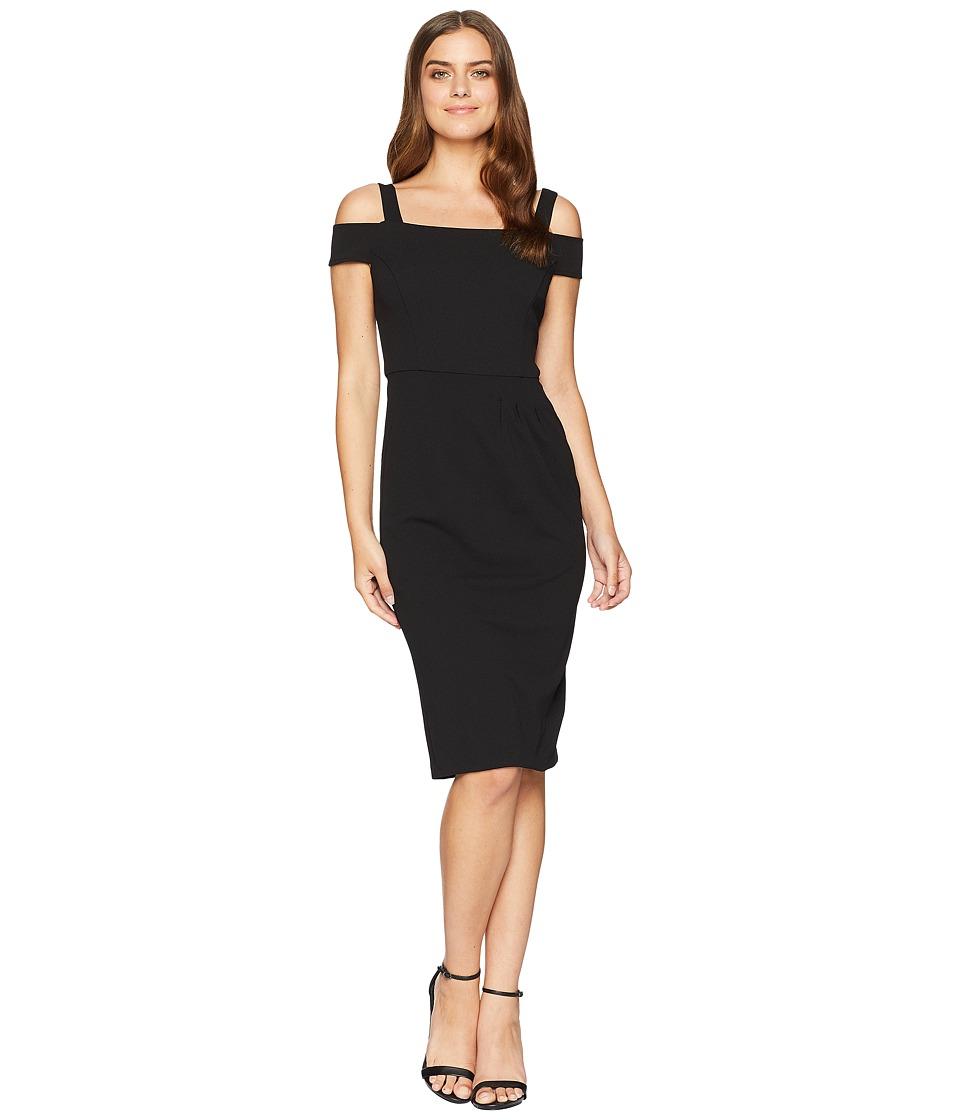 London Times Strappy Sheath Dress w/ Asymmetrical Waist Pleat (Black) Women