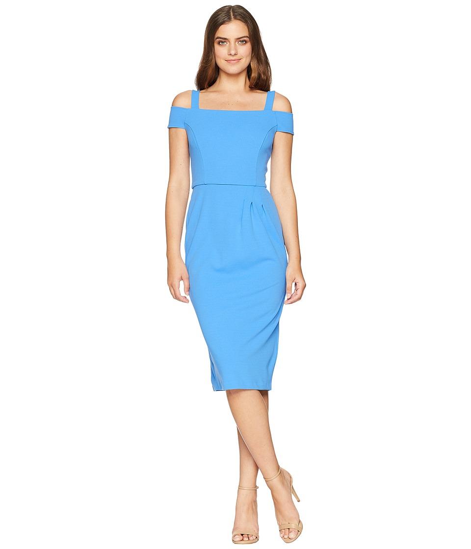 London Times Strappy Sheath Dress w/ Asymmetrical Waist Pleat (Royal) Women