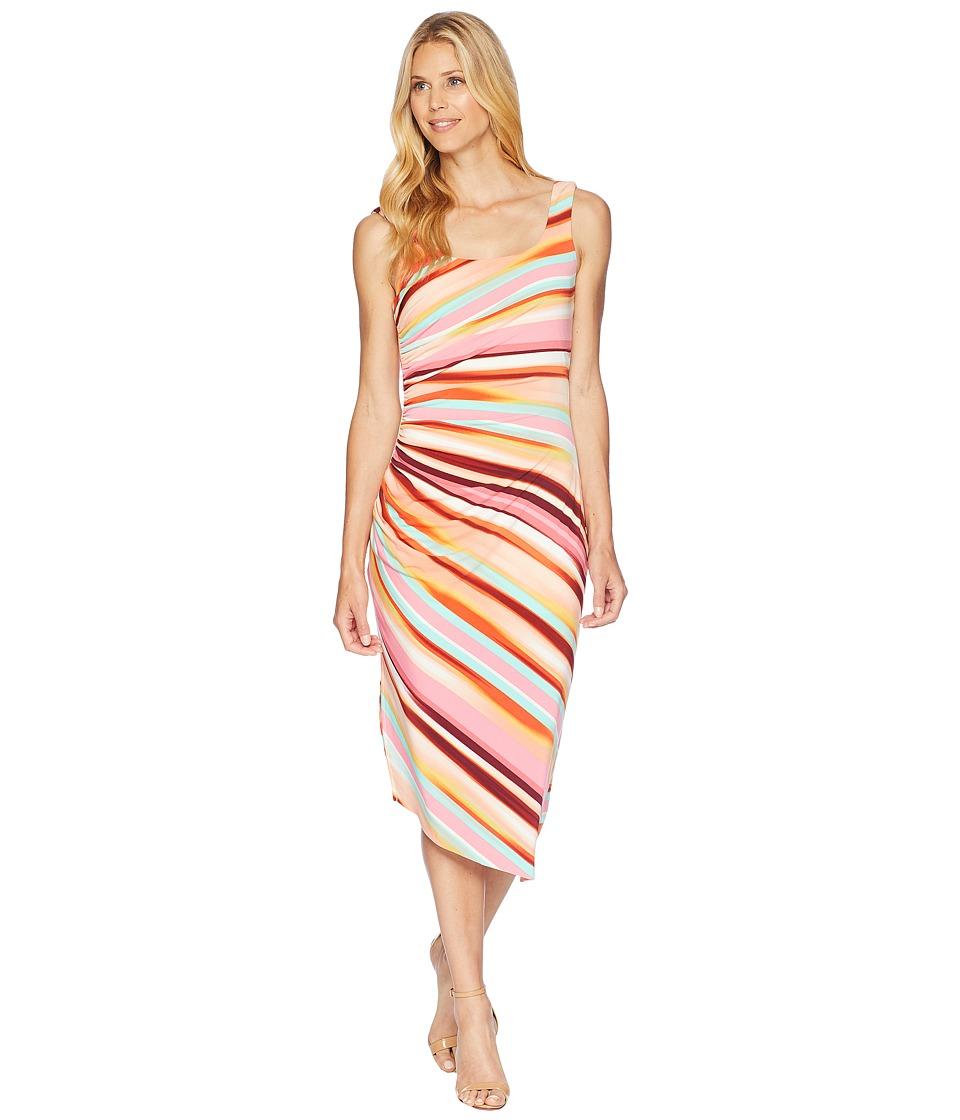 London Times Side Drape Shirring Slit Dress (Pink Multi) Women