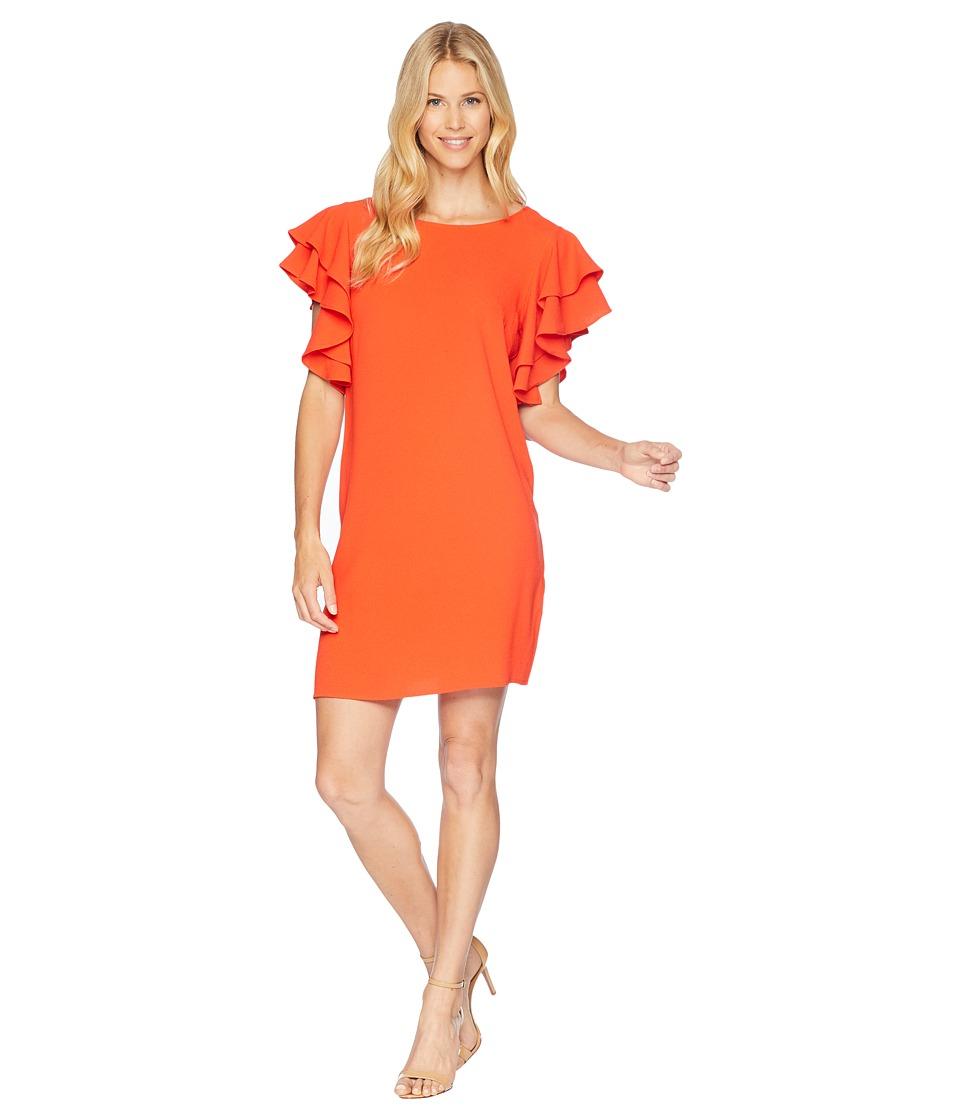 London Times 30s Crepe Ruffle Sleeve Shift Dress (Orange) Women