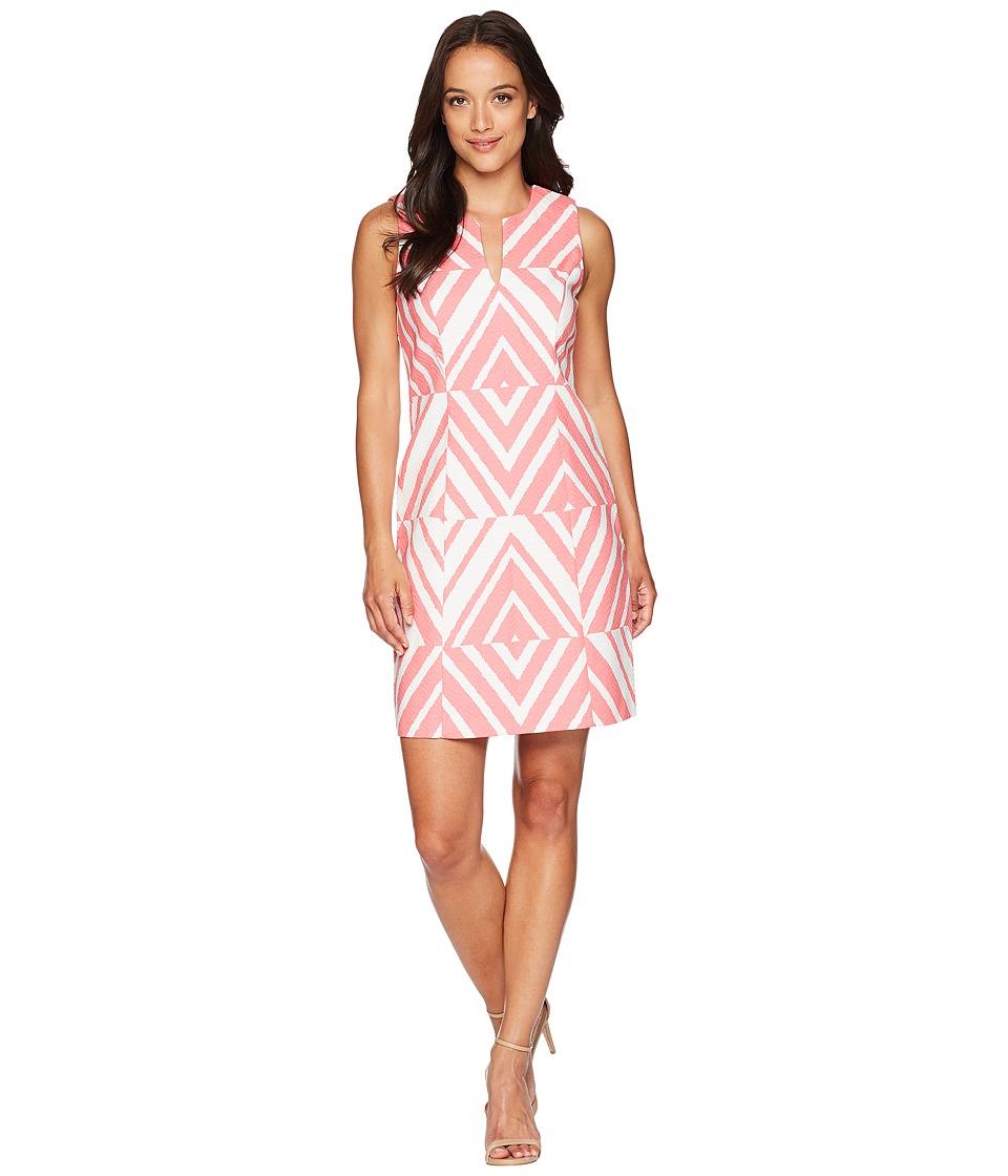 Taylor Sleeveless Chevron Print Dress (Flamingo White) Women