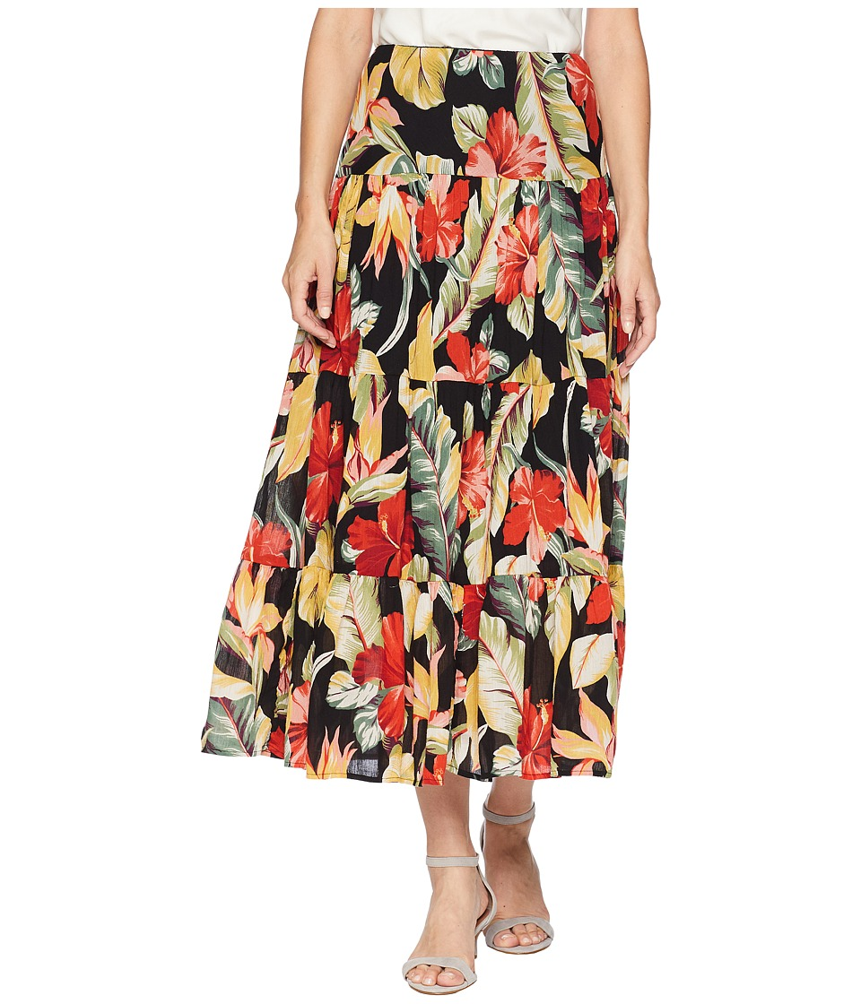 CHAPS Tiered Maxi Skirt (Black/Multi) Women