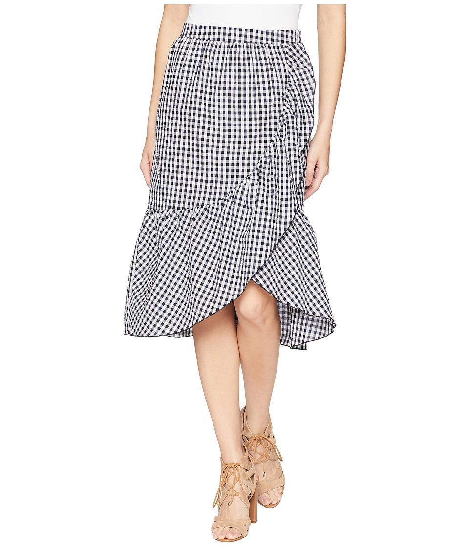 ROMEO & JULIET COUTURE Gingham Asymmetrical Midi Skirt (Black/Navy/White) Women
