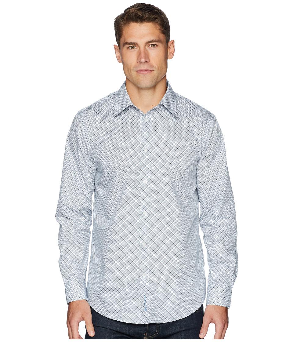 Ben Sherman Long Sleeve Bias Check Print Shirt (Indigo) Men