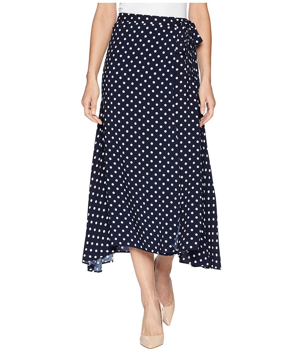 CHAPS Dot-Print Skirt (Navy Multi) Women