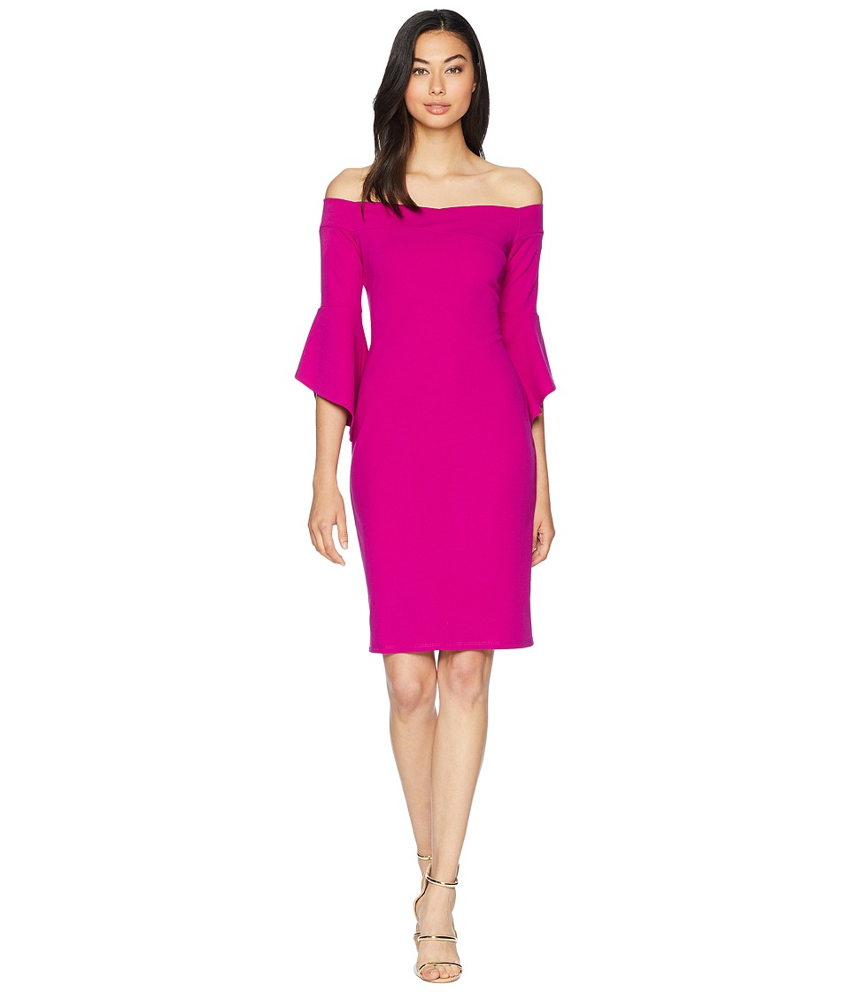 Bebe Off the Shoulder w/ Flowly Sleeve Dress (Fuchsia) Women
