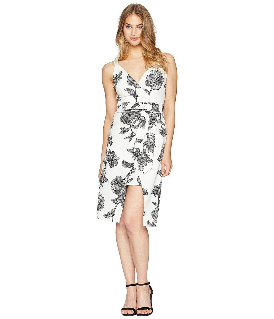 Bebe Tie Strap Over Wrap Skirt Dress (White/Black) Women