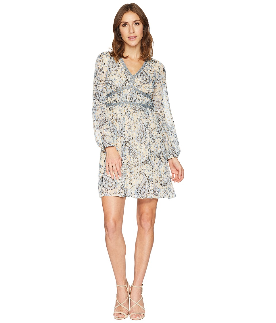 Taylor Paisley Print V-Neck Long Sleeve Dress (Blue/Oatmeal) Women