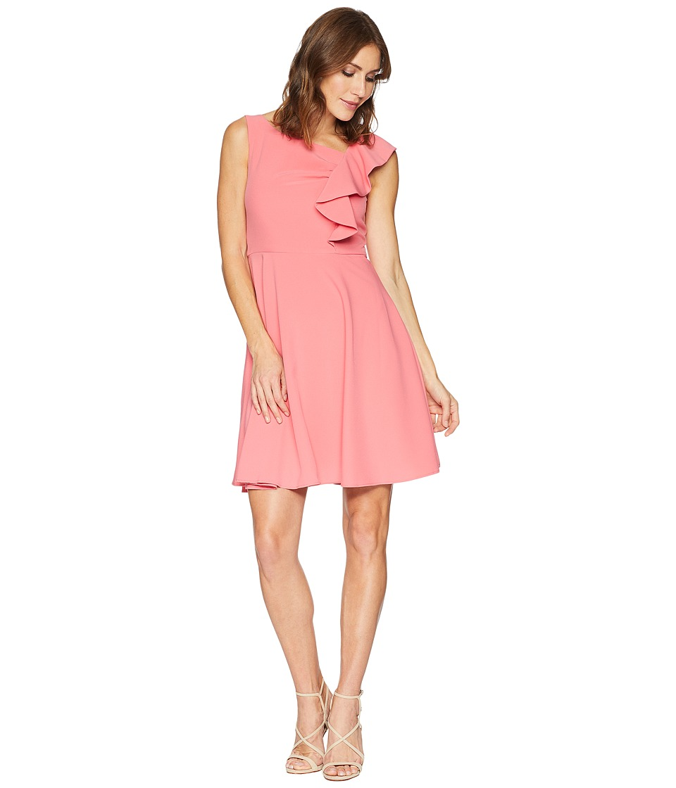 Taylor Asymmetrical Ruffle Fit and Flare Dress (Coral) Women