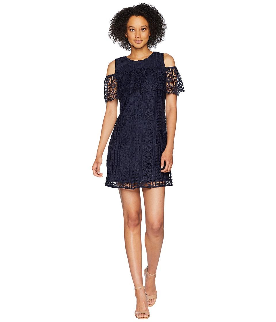 Taylor Chemical Lace Cold Shoulder Sheath Dress (Navy) Women