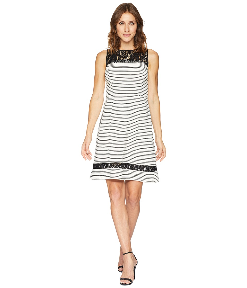 Taylor Lace Neckline Fit and Flare Dress (Ivory/Black) Women