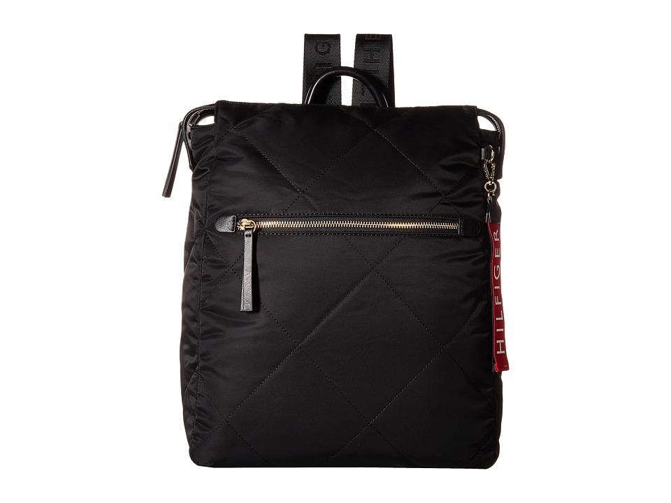 Tommy Hilfiger Kensington Zip Top Backpack (Black) Backpack Bags