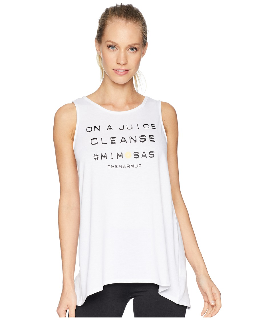 Jessica Simpson TheWarmUp Juice Cleanse Graphic Tie Back Tank Top (Glowing White) Women