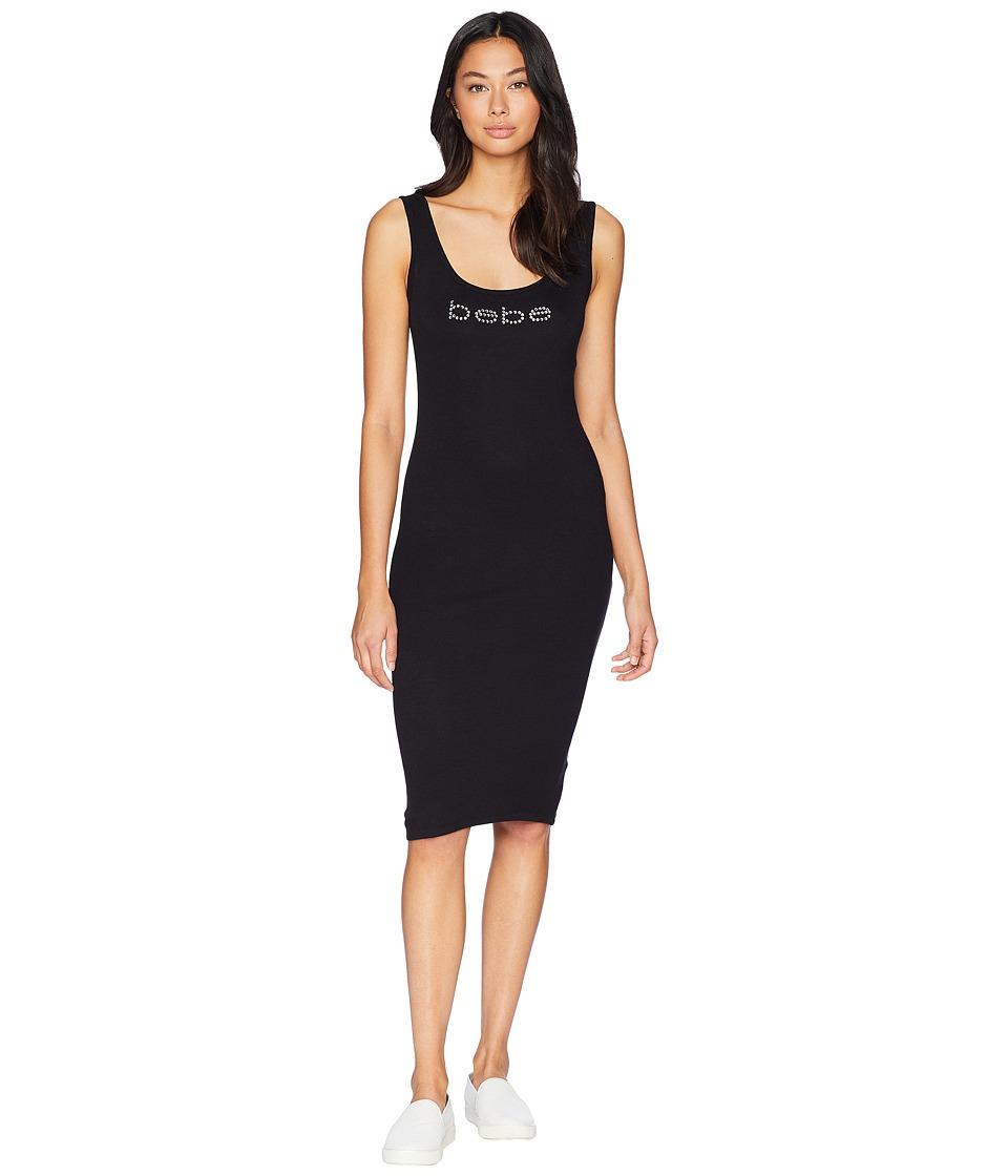 Bebe Bebe Logo Tank Top Zip Slit Dress (Jet Black) Women