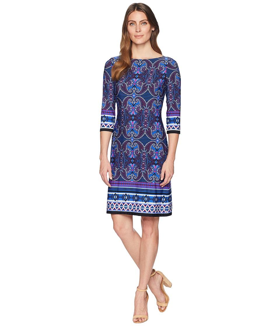 London Times Scroll Paisley Stripe 3/4 Sleeve Dress (Blue Multi) Women