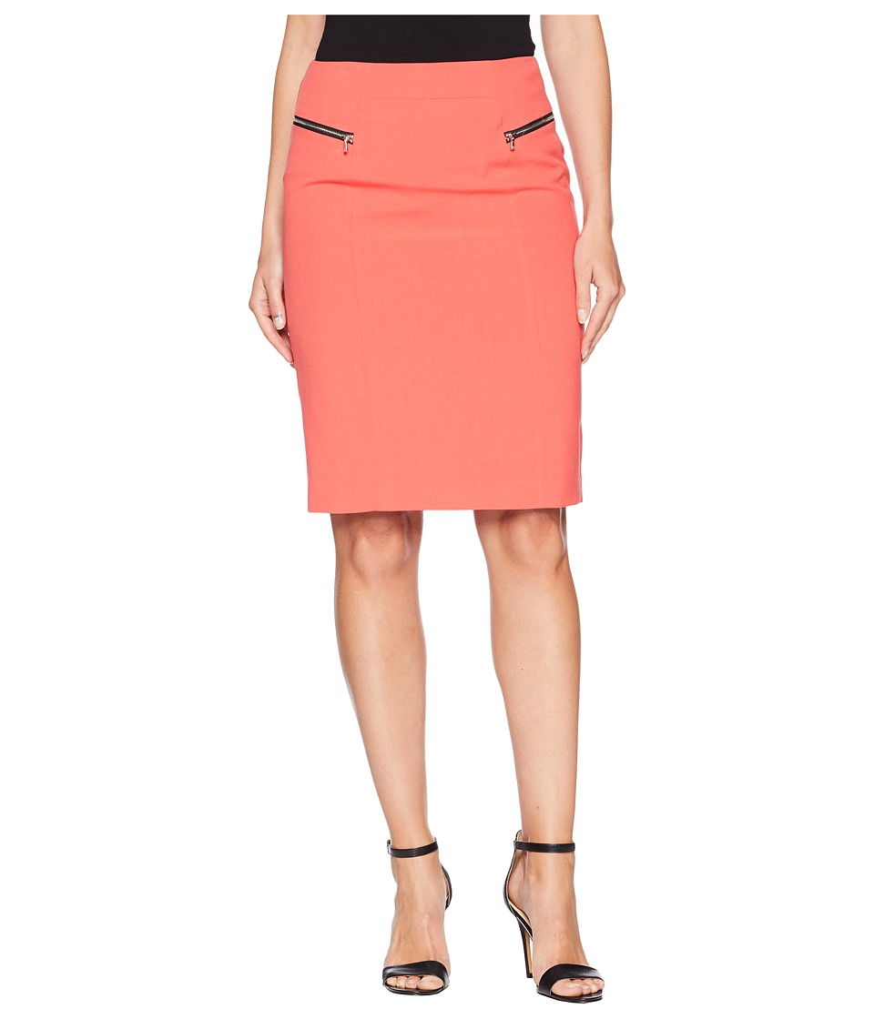 Nine West Bi Stretch Skirt with Zippers (Coral) Women