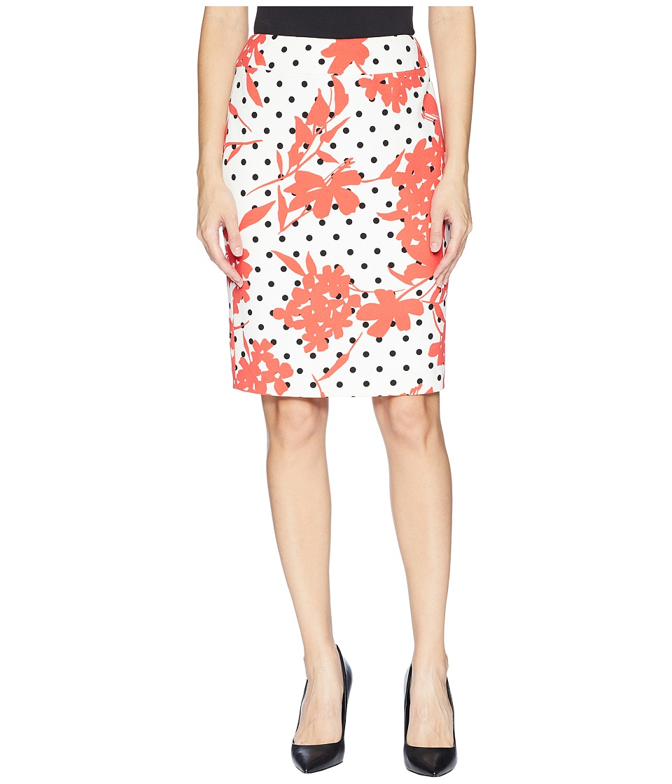 Nine West Printed Slim Skirt (Coral Multi) Women