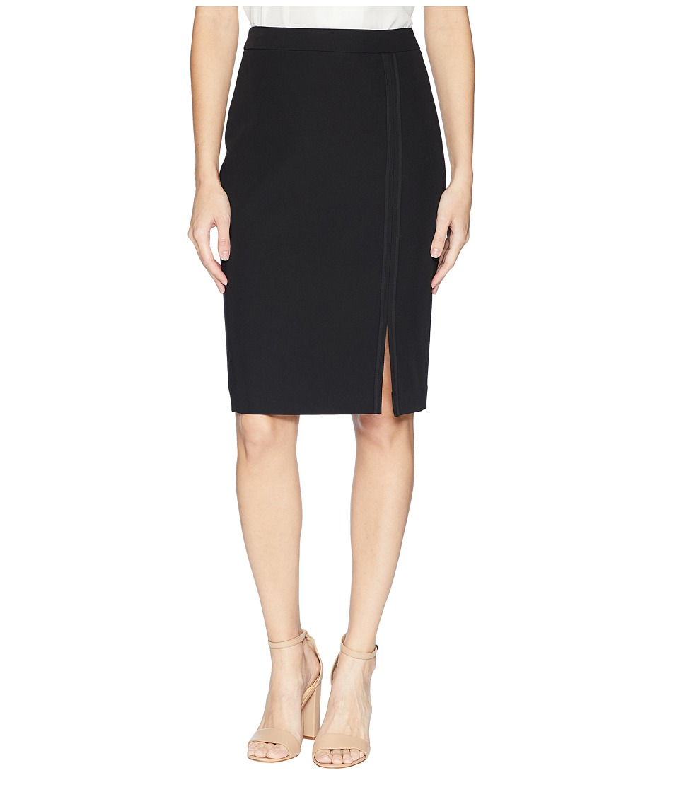 Tommy Hilfiger Long Pencil Skirt w/ Tonal Detail (Black) Women