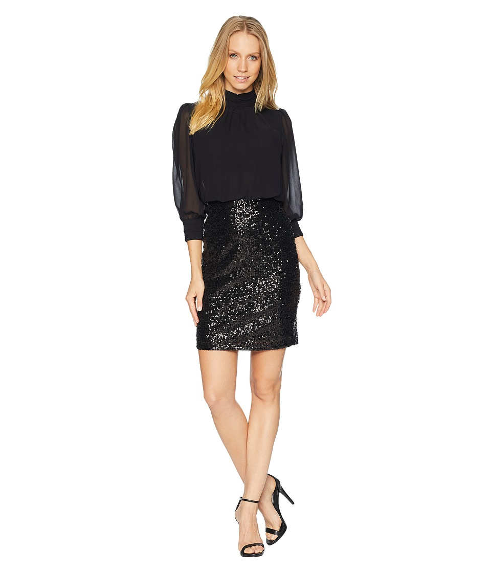 Bebe Blouson Top Sequin Skirt Dress (Black) Women