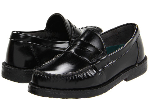 Hush Puppies Kids - Lincoln (Little Kid/Big Kid) (Black Leather) Boys Shoes