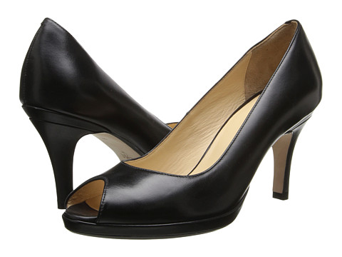 Cole Haan - Air Carma Open Toe Pump (Black Leather) Women's Slip-on Dress Shoes