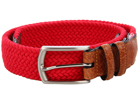 Torino Leather Co. - 32MM Italian Woven Multi Cotton Elastic (Red) Men's Belts
