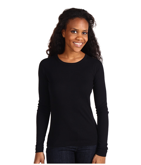 Three Dots - Long Sleeve Crew (Black) Women's Clothing