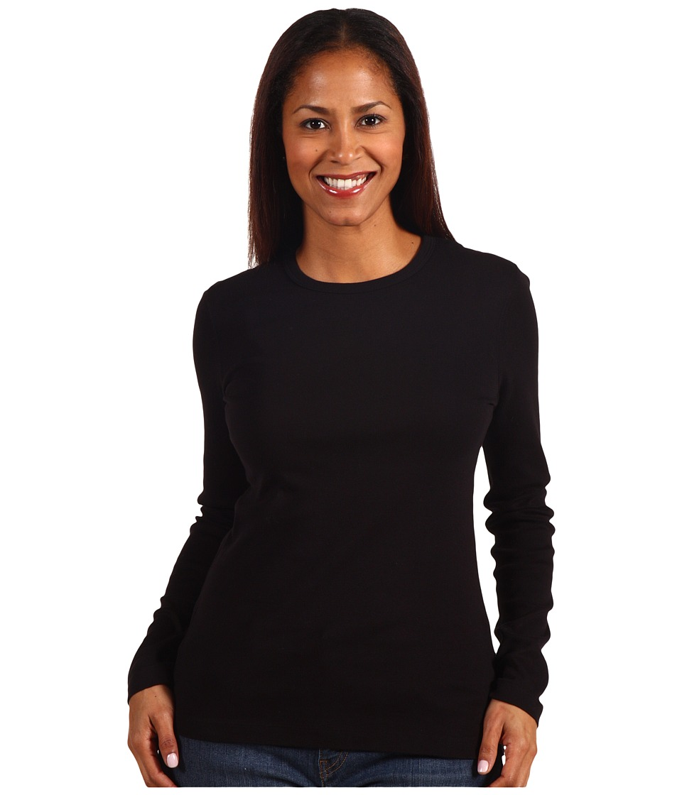 Red Dot - Cotton Knits L/S Crewneck (Black) Women's T Shirt