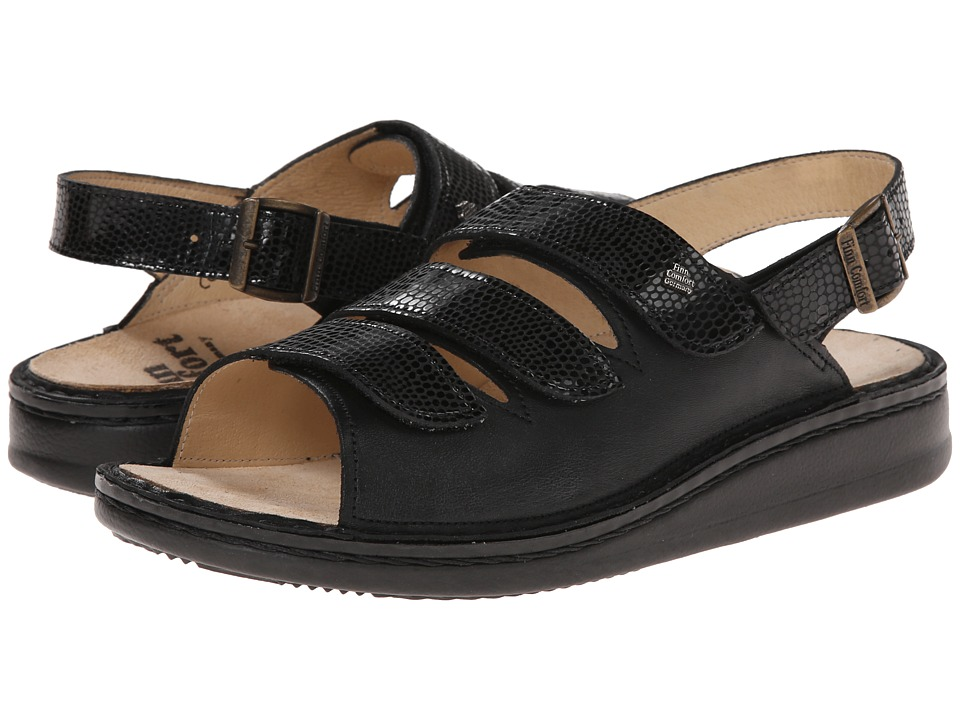 Finn Comfort - Sylt - 82509 (Black/Snake Nappa Soft Footbed) Women's Shoes
