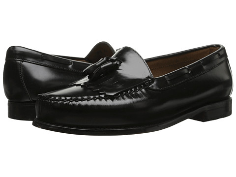 Bass - Layton Kiltie Tassel (Black Polished Box Calf Leather) Men's Slip on Shoes