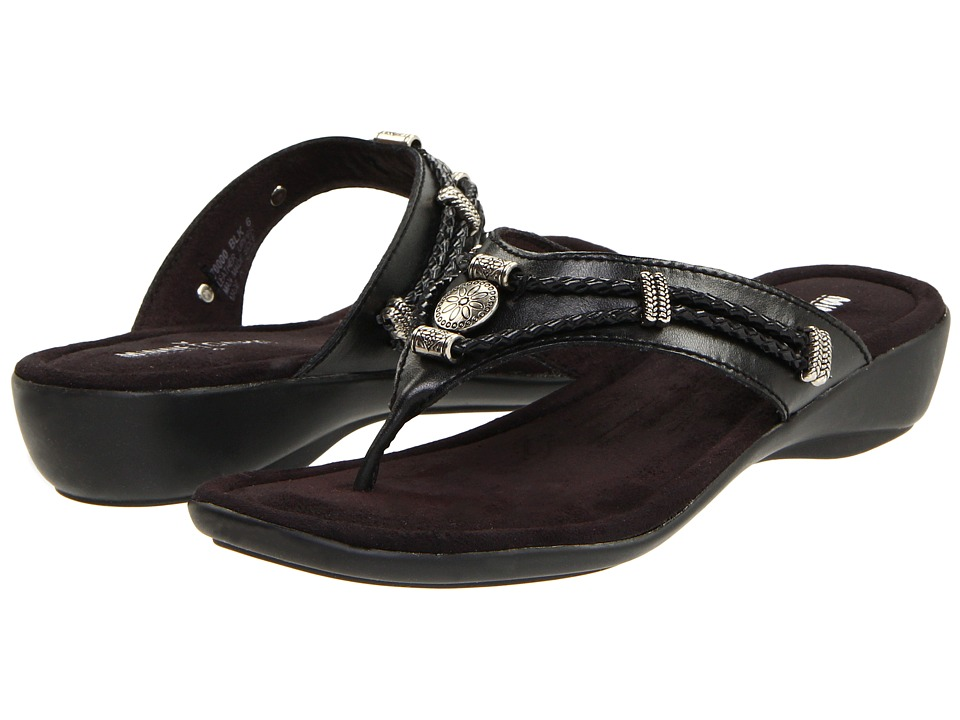 Minnetonka - Silverthorne Thong (Black Leather) Women's Sandals