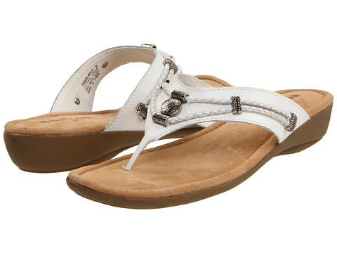 Minnetonka - Silverthorne Thong (White Leather) Women