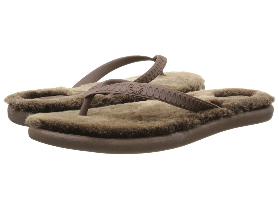 UGG - Fluffie (Chocolate/Metallic Gold) Women's Sandals
